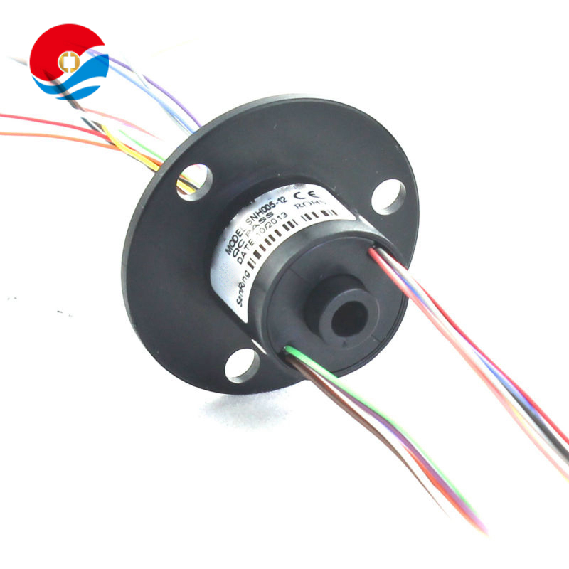12 circuits/wires contact with mini hole size 5mm compact capsule slip ring with flange