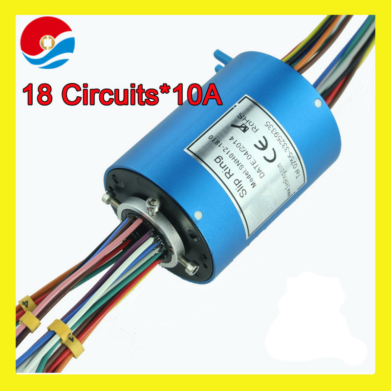 18 wires 10A rotary joint connector with bore size 12.7mm through hole slip ring