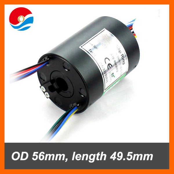 Power electrical rotary joint 12.7mm hole size 6 circuits 10A+4 circuist signal 2A of through hole slip ring