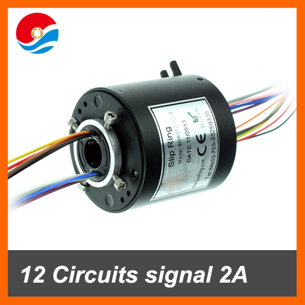 Rotary joint connector 12 wires/circuits signal 2A with bore size 12.7mm through hole slip ring