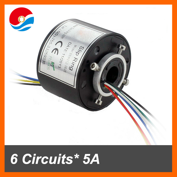 Through12.7mm Conductors 380VAC 600Rpm Through hole Slip Rings 6 wires/wires 5 current