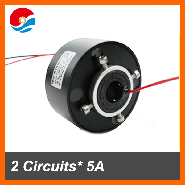 Electric swivel 380VAC 600Rpm 2 circuits 5A of through hole slip ring inner size 12.7mm