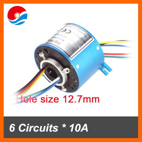 Rotary electrical connector 10A/6 wires contact hole size 12.7mm of through bore slip ring