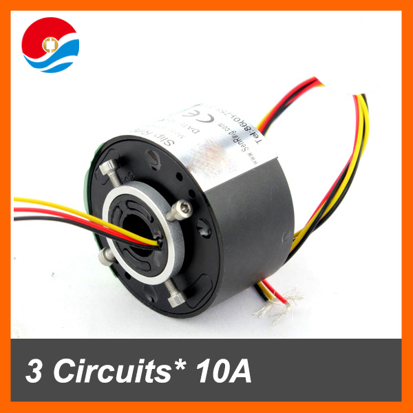 Electrical rotary joint connector 12.7mm 3 circuits 10A of through hole slip ring