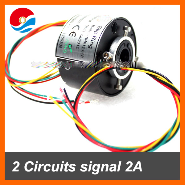 Shenzhen electronics swivel connector 2 wires signal 2A with hole size 12.7mm of through bore slip ring