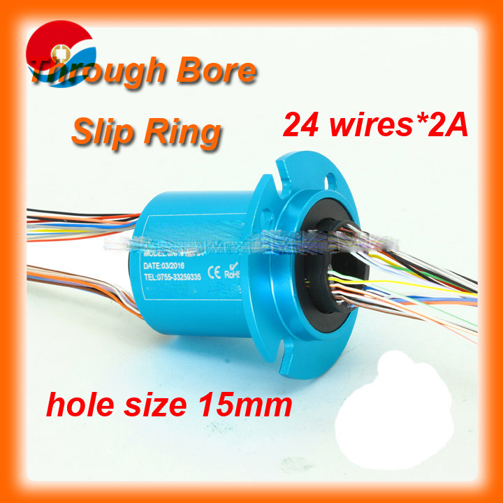 24 circuits, wires 2A current bore size 15mm mini through bore slip ring