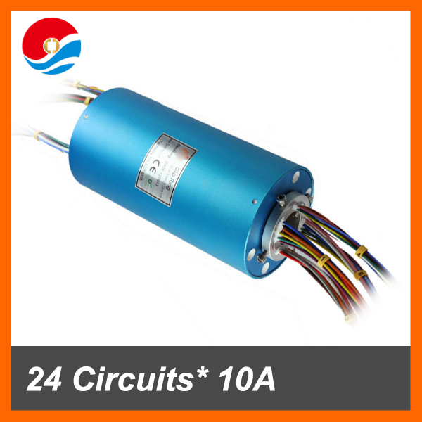 Electrical slip ring rotary joint connector bore size 25.4mm with 36 circuits