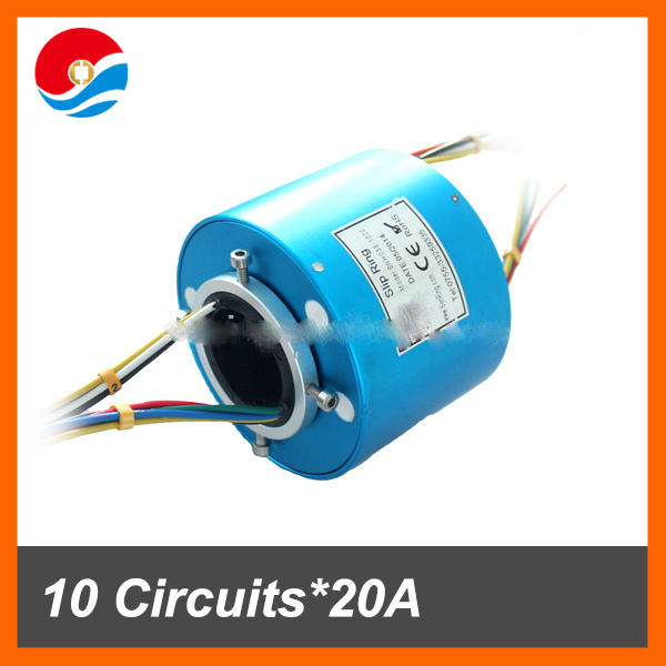 Customized slip ring 10 wires/circuits 20A of conductive slip ring hole size 38.1mm
